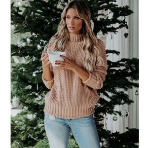 OLYMPIA Mock Neck Knit Sweater